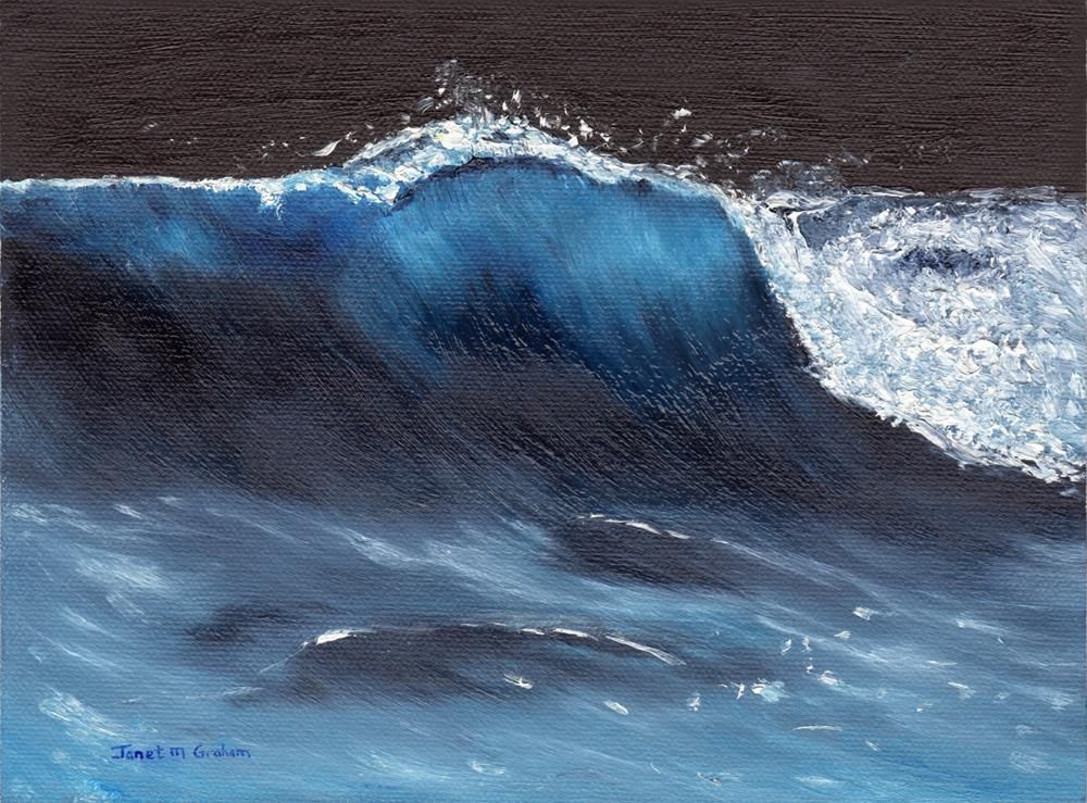 """Moonlit Wave"" original fine art by Janet Graham"
