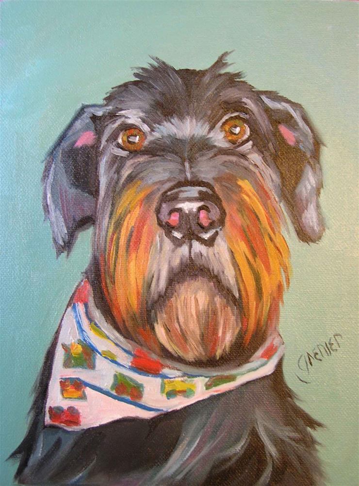 """Original Oil Dog Portrait"" original fine art by jean grenier"