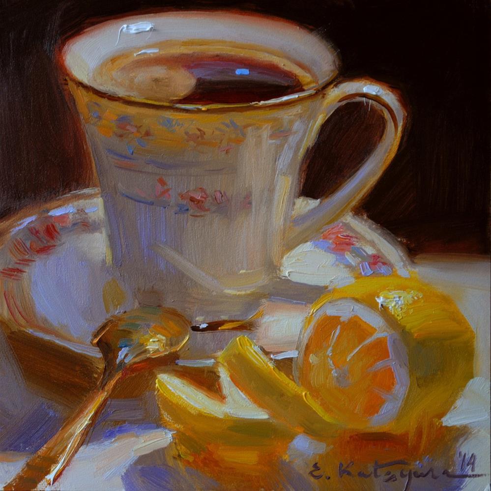 """""""Lemon Coffee"""" original fine art by Elena Katsyura"""