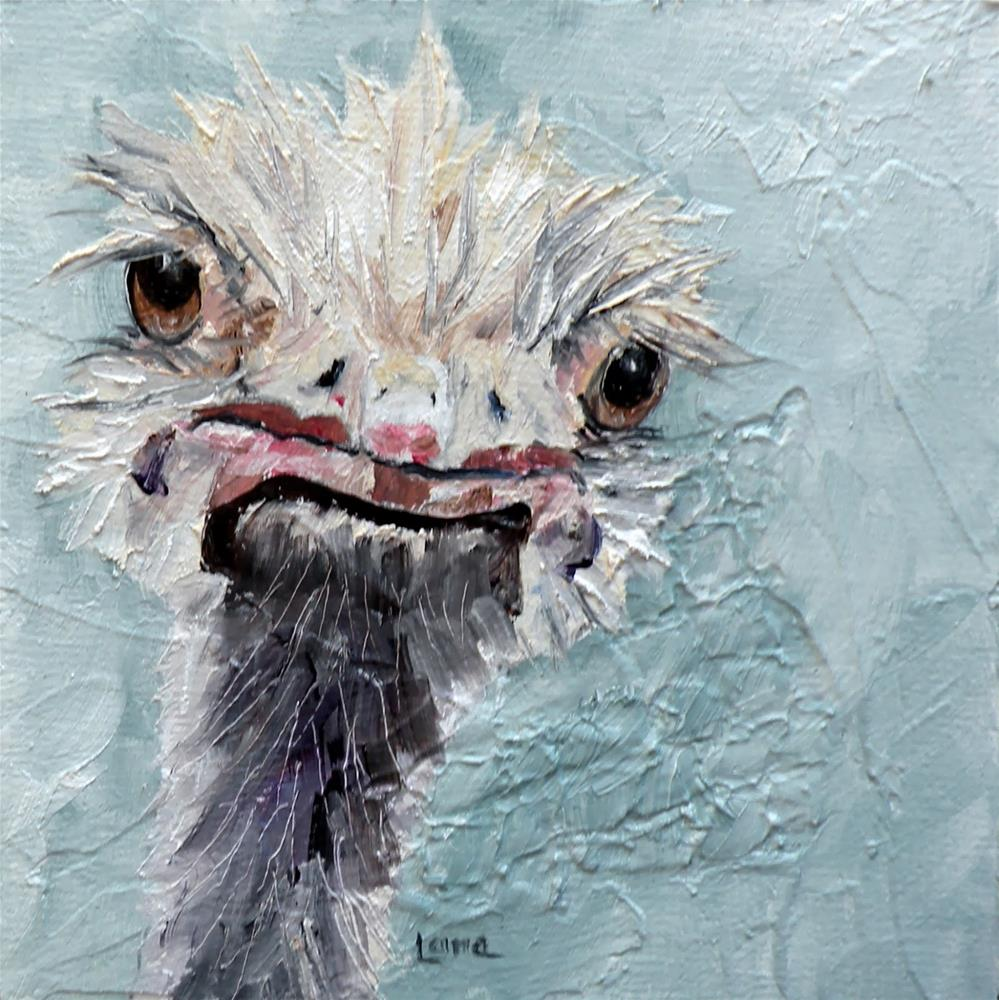 """""""DIMPLES AN OSTRICH IS AN ORIGINAL OIL ON TEXTURED CRADLED PANEL © SAUNDRA LANE GALLOWAY and a"""" original fine art by Saundra Lane Galloway"""
