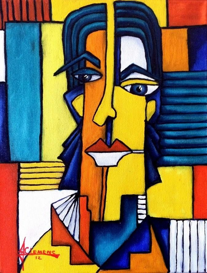 """Mosaic Man"" original fine art by Jolynn Clemens"