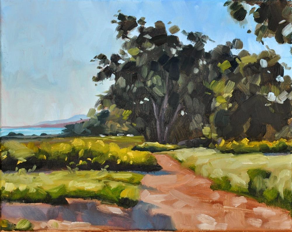 """Yellow Flowers on the Bluffs - 8x10"" original fine art by Sharon Schock"