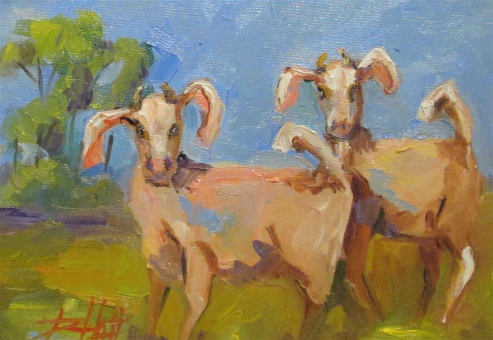 """Two Goats"" original fine art by Delilah Smith"