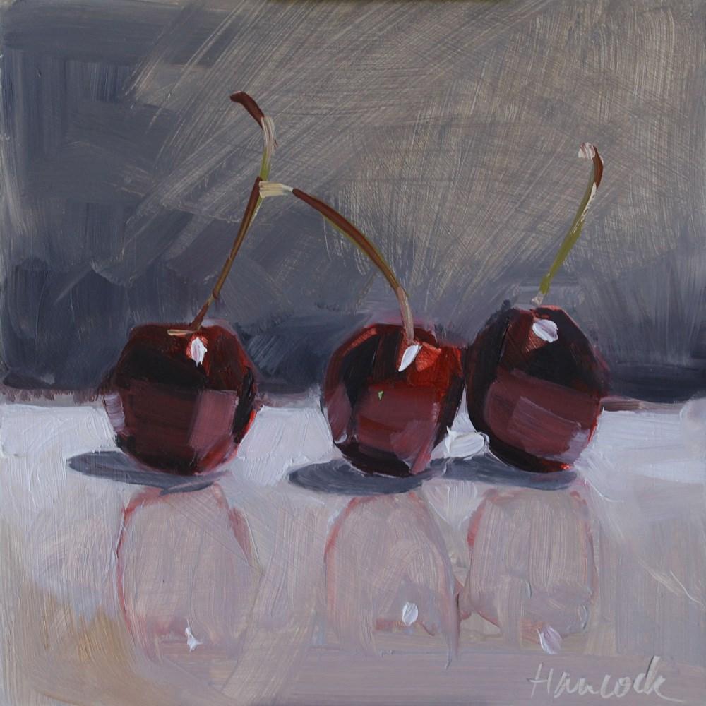 """""""Dark Cherries on Gray"""" original fine art by Gretchen Hancock"""