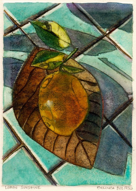 """Monotype #printmaking with Watercolor: Lemon Sunshine"" original fine art by Belinda Del Pesco"