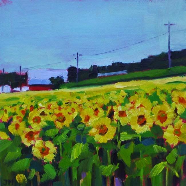 """Sunflower Field"" original fine art by Jessica Miller"