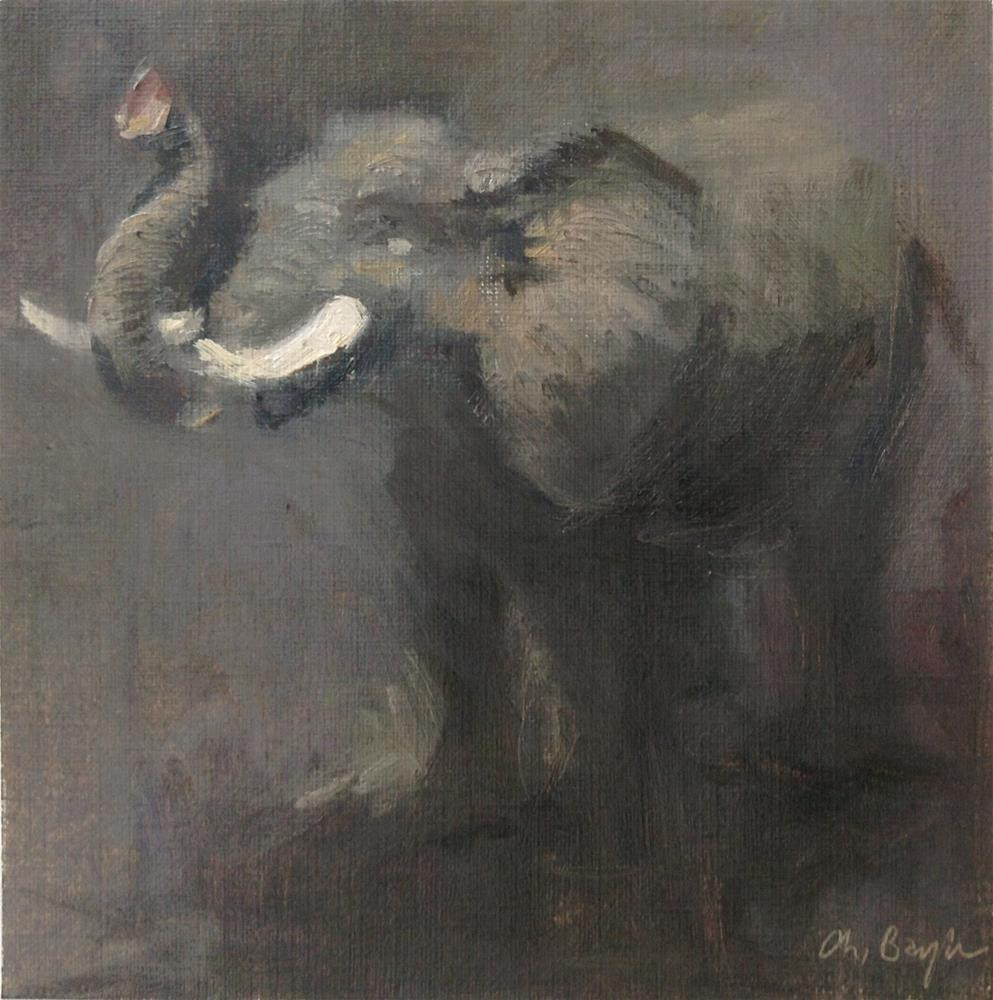 """Elephant"" original fine art by Christine Bayle"
