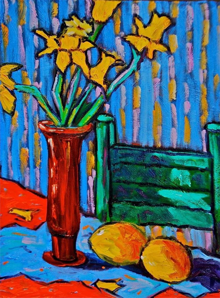 """Daffodils with Lemons and Green Chair"" original fine art by Liz Zornes"