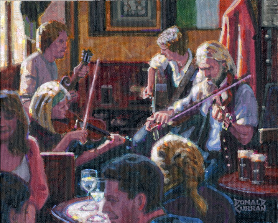 """Sunlit Irish Pub"" original fine art by Donald Curran"