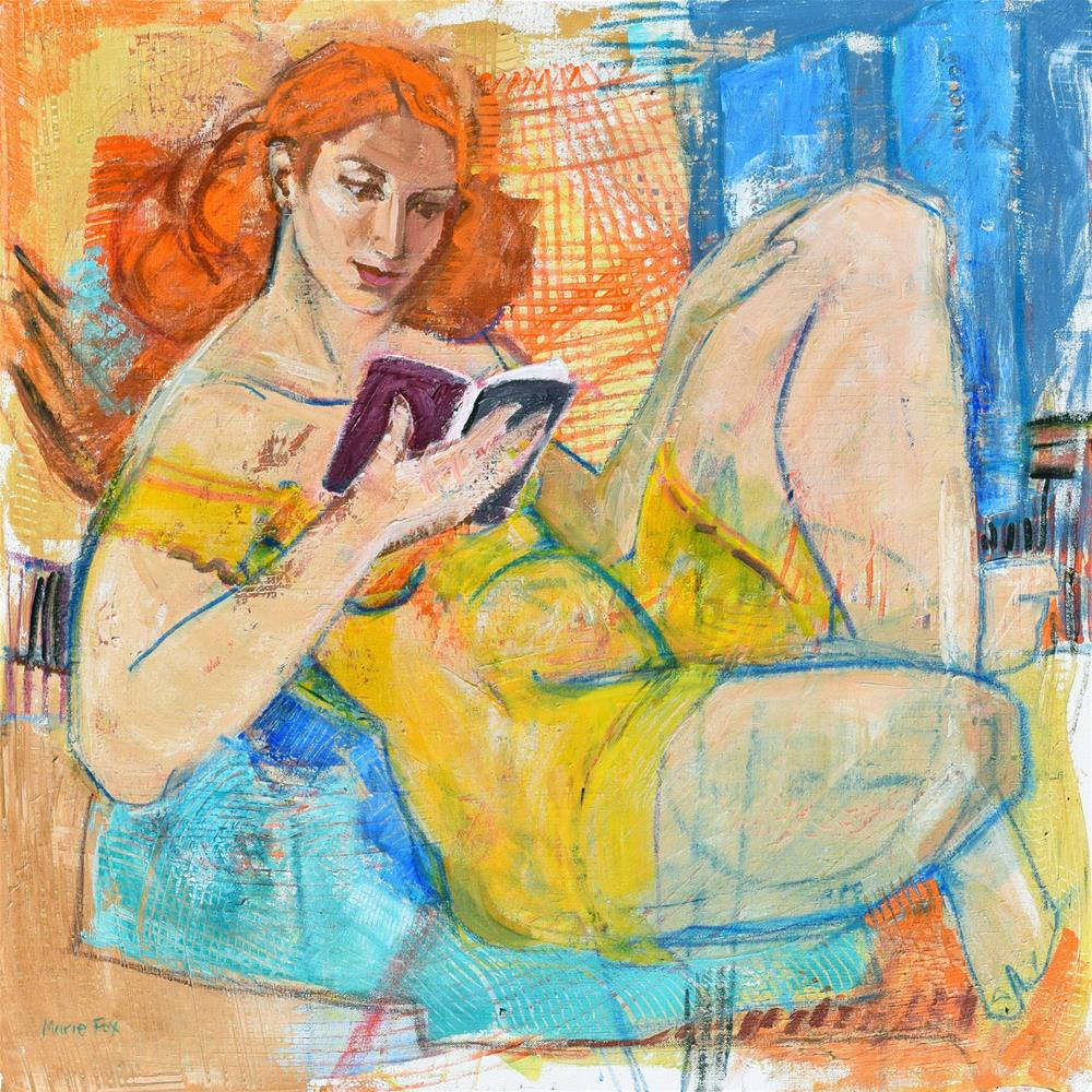 """""""Just A Few More Pages, woman reading, contemporary figurative painting, figure study, female figurat"""" original fine art by Marie Fox"""