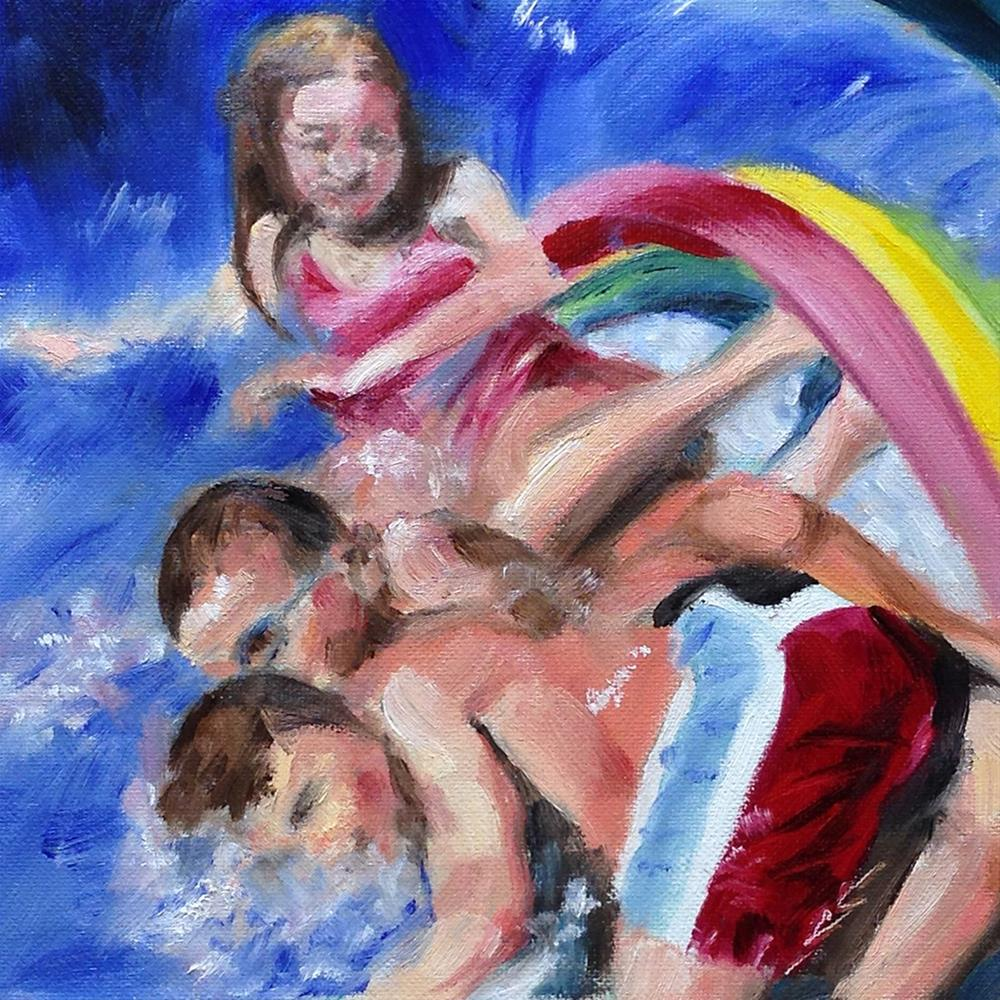 """""""At the Bottom of the Waterslide"""" original fine art by Linda Lowery"""
