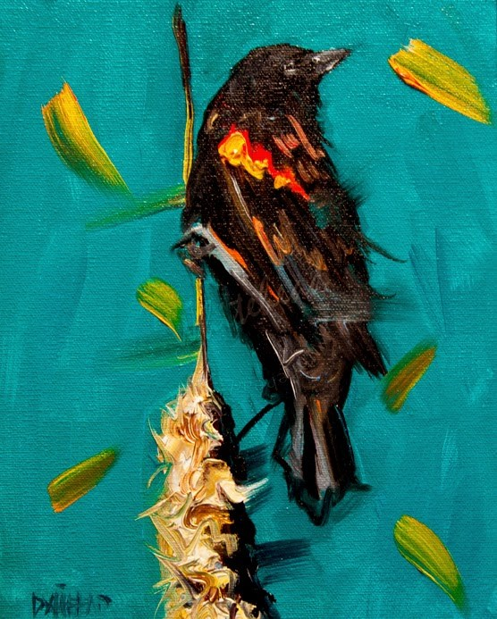 """ARTOUTWEST BLACK BIRD CATTAIL STORM COMING by Diane Whitehead Animal art"" original fine art by Diane Whitehead"