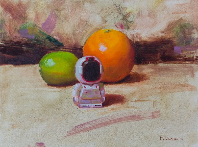 """""""A Robot and its fruit"""" original fine art by Thorgrimur Andri Einarsson"""