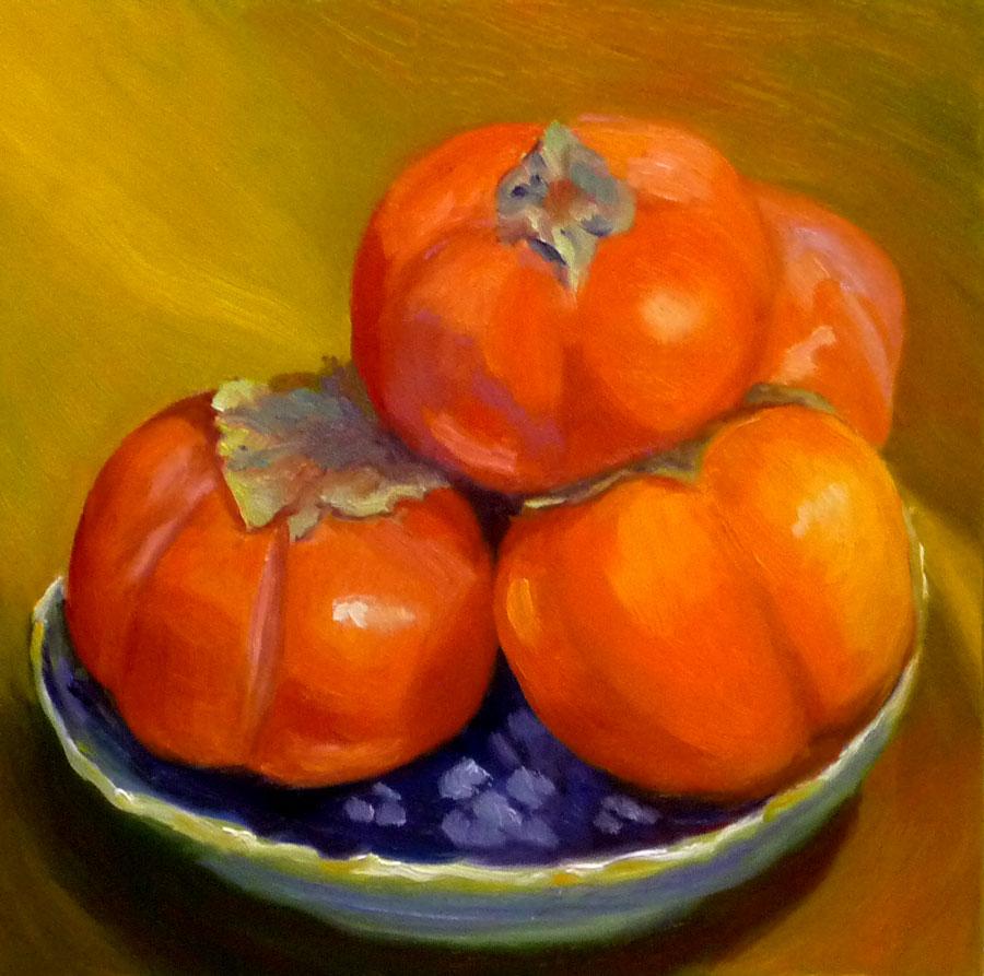 """Pile of Persimmons"" original fine art by Jana Bouc"