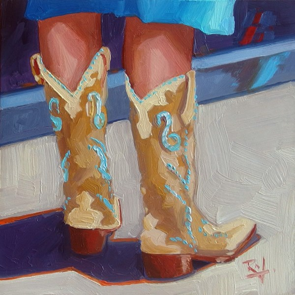"""No 735 The Boots Have it"" original fine art by Robin J Mitchell"