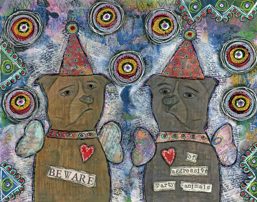 """Party Animals"" original fine art by Sonja Sandell"