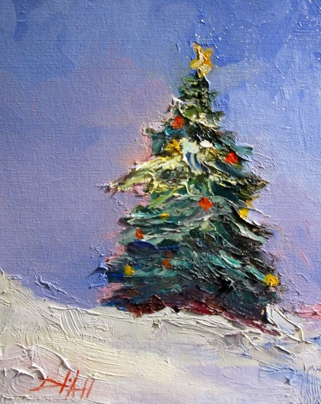 """Christmas Tree"" original fine art by Delilah Smith"