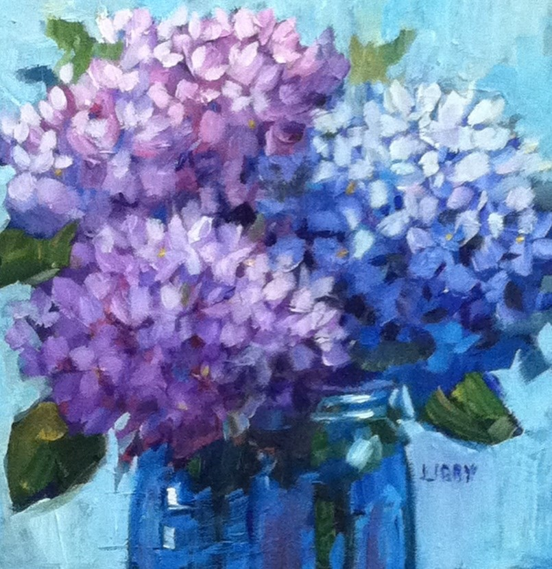 """Moonlight Hydrangeas"" original fine art by Libby Anderson"