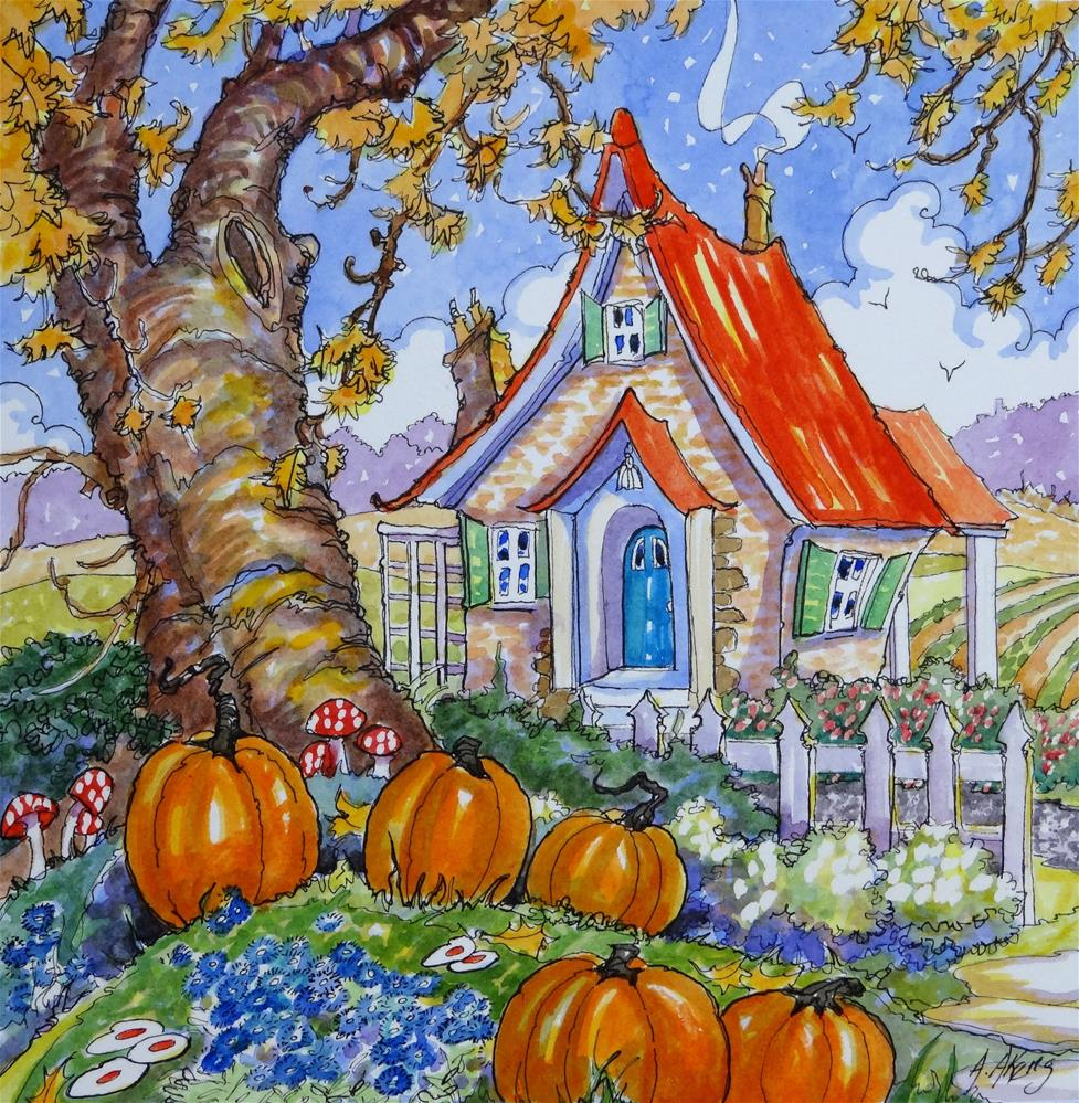 """""""Signs of the Season Storybook Cottage Series"""" original fine art by Alida Akers"""