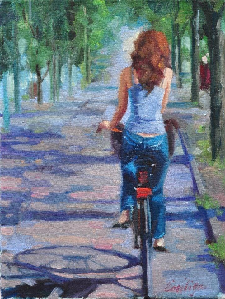 """Sunday Morning Ride"" original fine art by Emiliya Lane"
