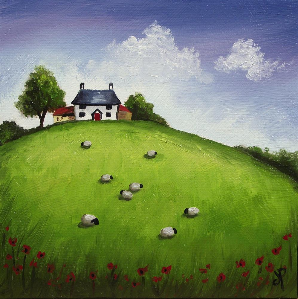"""Hilltop cottage with sheep"" original fine art by Jane Palmer"