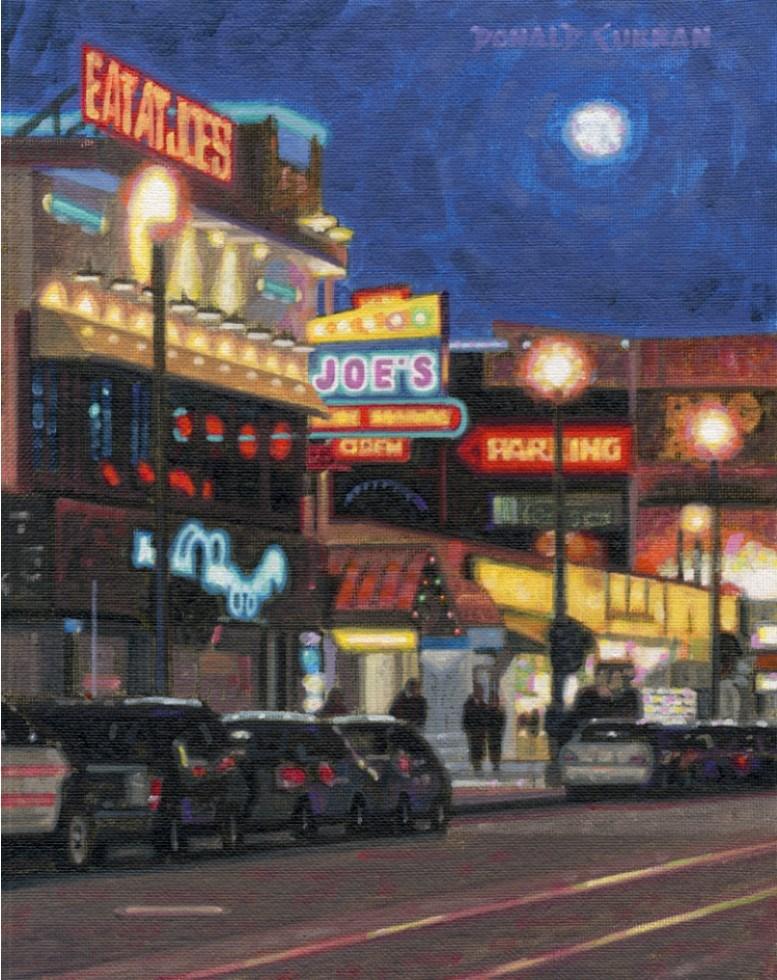 """San Francisco Night Scene"" original fine art by Donald Curran"