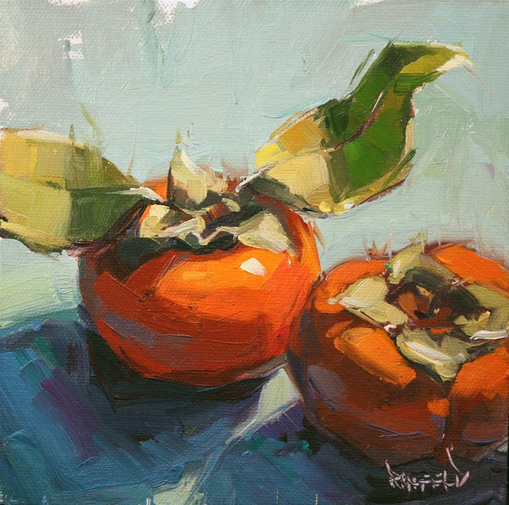 """""""Translucent Leaves of the Persimmon"""" original fine art by Cathleen Rehfeld"""