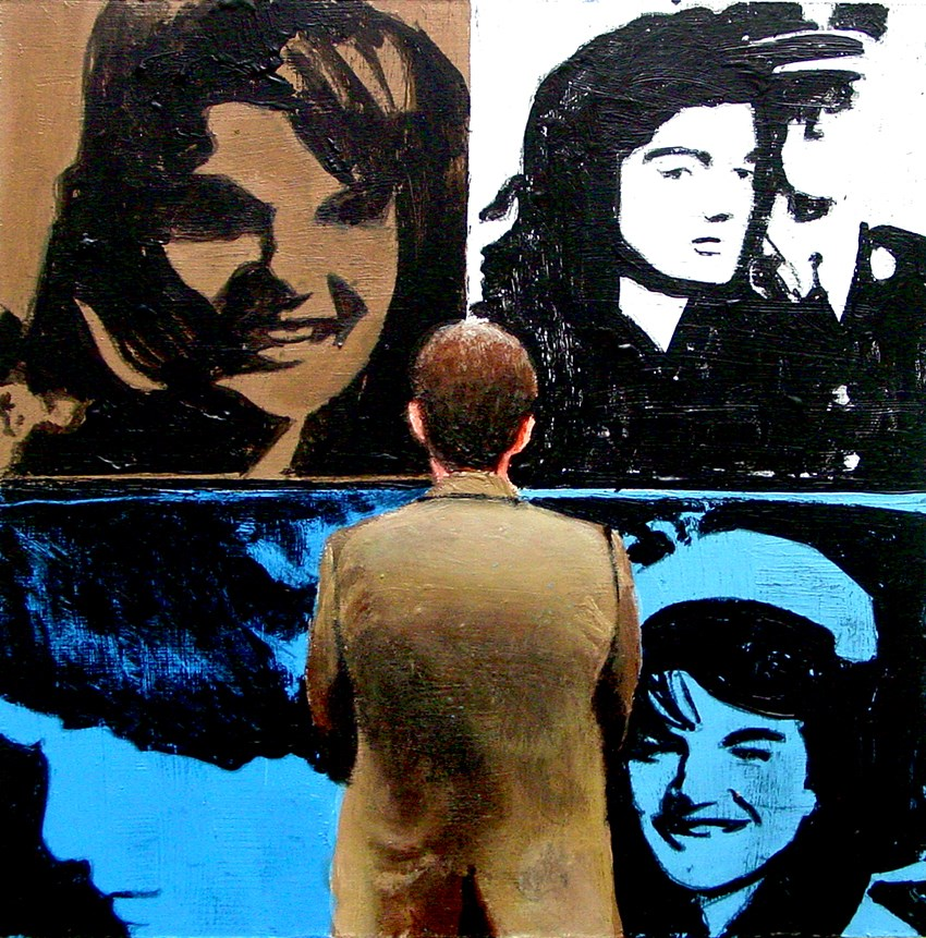 """""""First Lady- Painting Of Man Enjoying Painting Of Jackie Kennedy By Andy Warhol"""" original fine art by Gerard Boersma"""