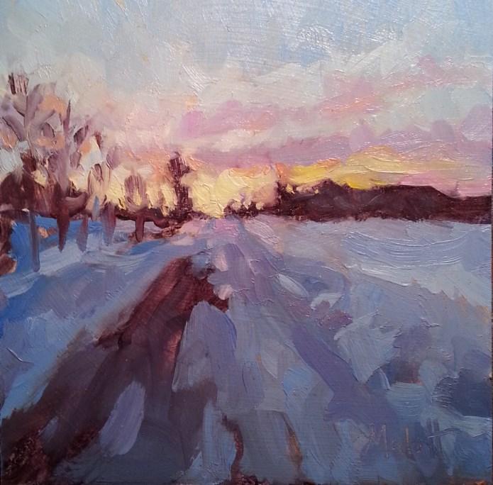 """Studio Sale Winter Sunset Snowy Landscape Oil Painting"" original fine art by Heidi Malott"