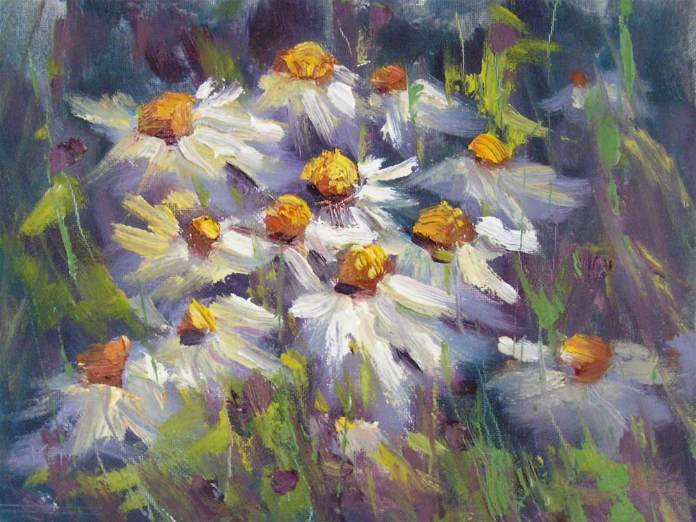 """Painting Daisies en Plein Air...Then and Now"" original fine art by Karen Margulis"