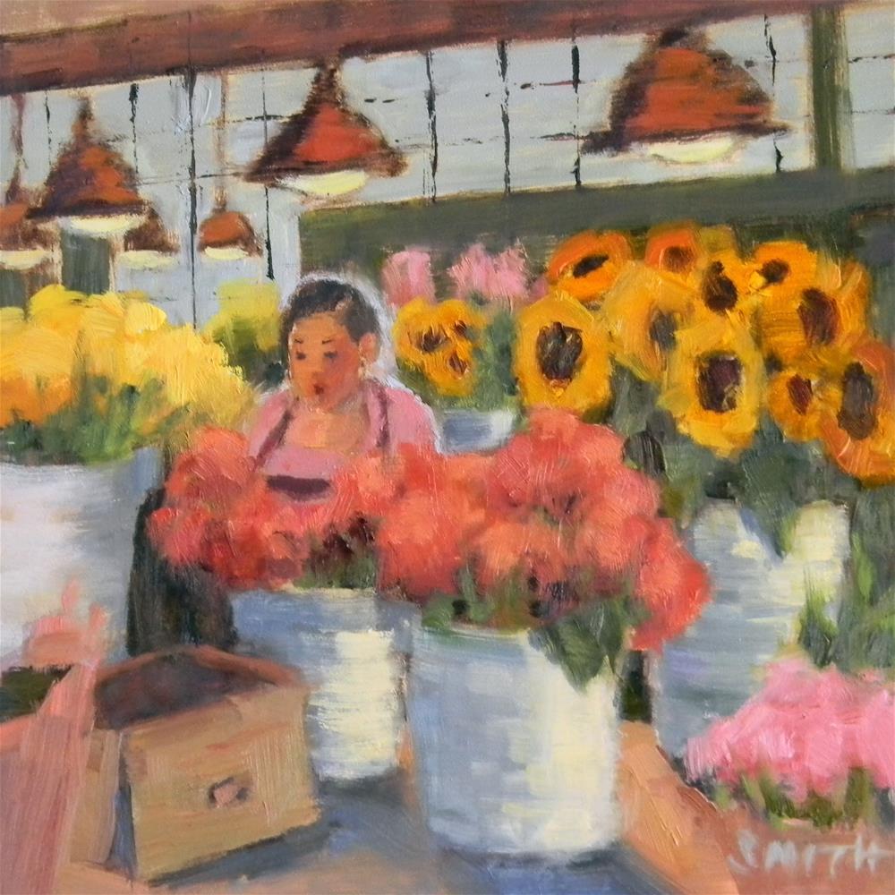 """Pike Place Market Flowers"" original fine art by Barbie Smith"