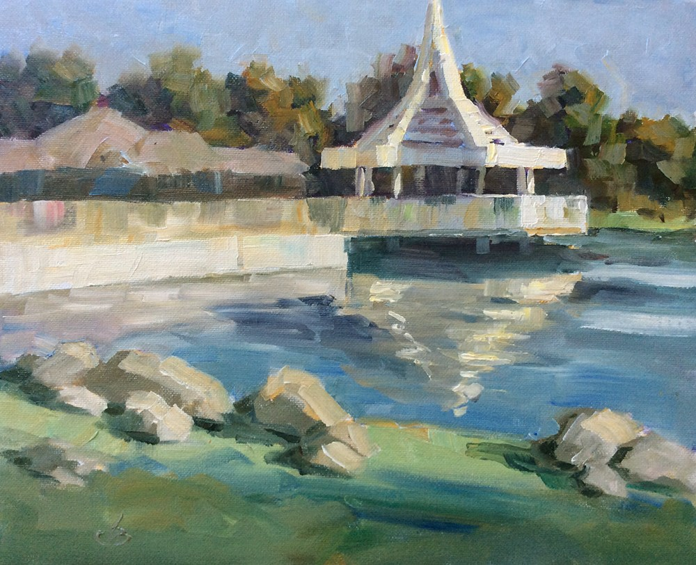 """GAZEBO ON NORTH WOODBRIDGE LAKE"" original fine art by Tom Brown"