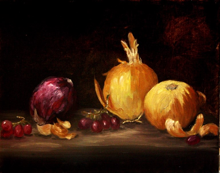 """Onions and Grapes"" original fine art by Mary Datum"