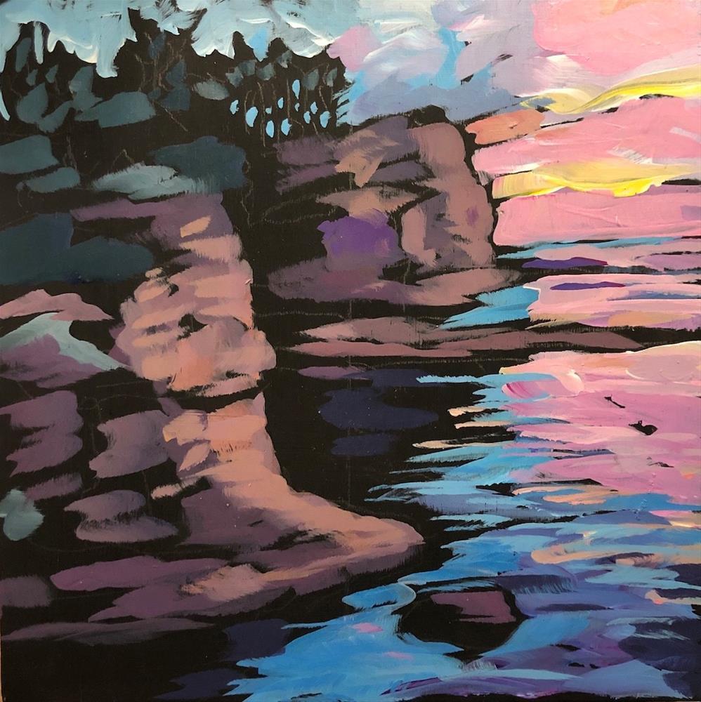 """Sunset on the Rocks"" original fine art by Kat Corrigan"