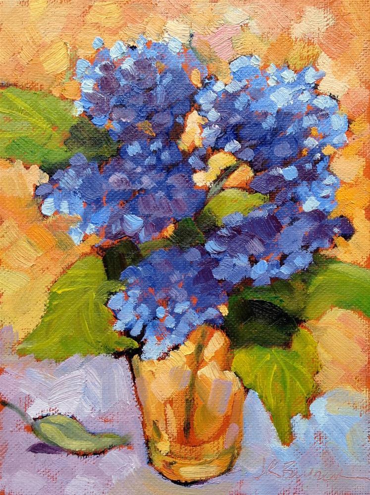 """""""Blue Hydrangea in Yellow Glass I"""" original fine art by Jeanne Bruneau"""