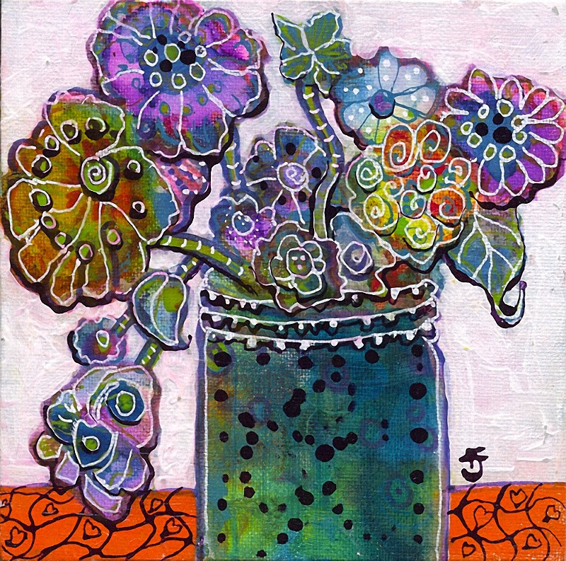 """Funk Flower 2"" original fine art by Francine Dufour~Jones"