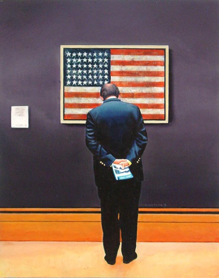 """Flag- Art Within Art Painting Of Man Enjoying American Flag By Jasper Johns"" original fine art by Gerard Boersma"