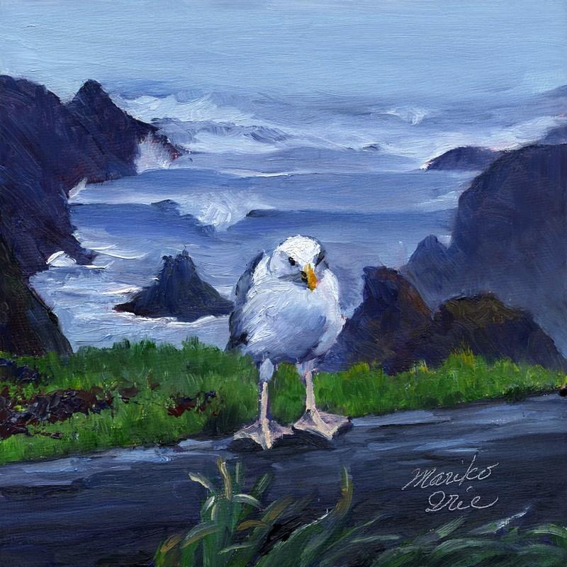 """A Seagull at Headlands"" original fine art by Mariko Irie"
