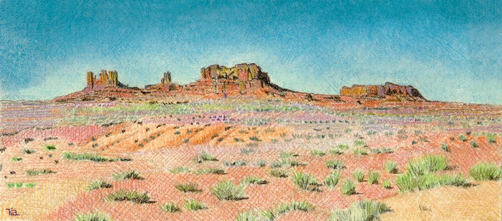 """Western Buttes landscape drawing"" original fine art by Ria Hills"