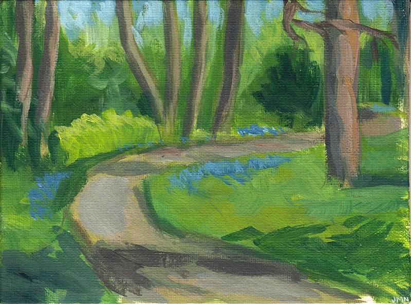 """Path With Forget-Me-Nots"" original fine art by J M Needham"