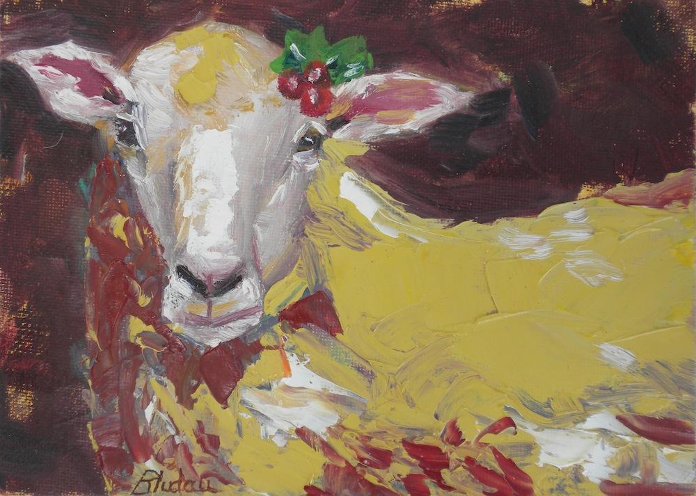 """Christmas Ewe"" original fine art by Janet Bludau"