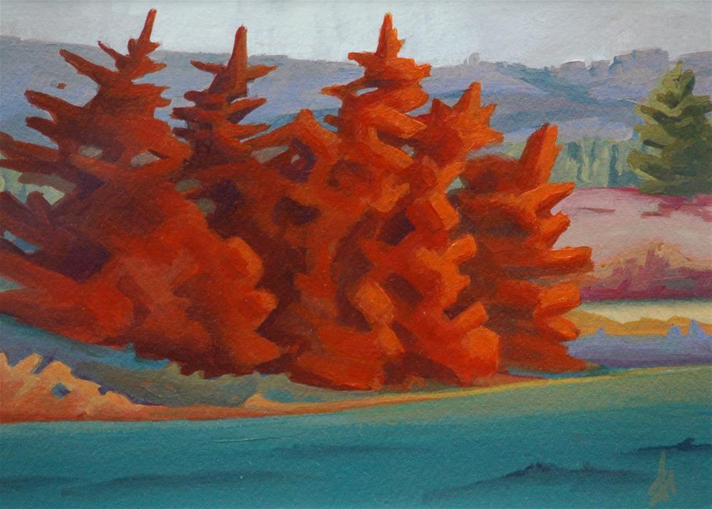 """Red Trees"" original fine art by Mark Allison"