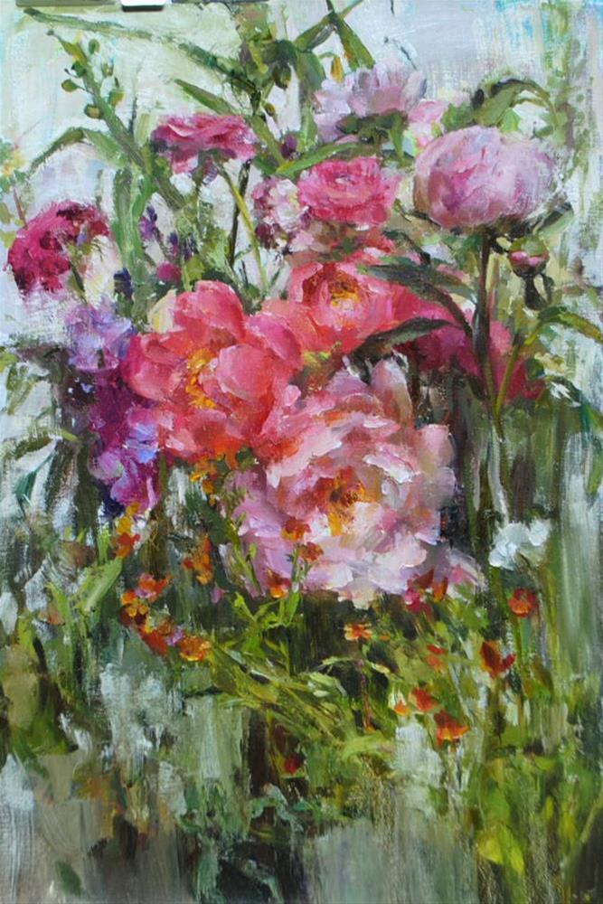 """pink flowers"" original fine art by Taisia Kuklina"