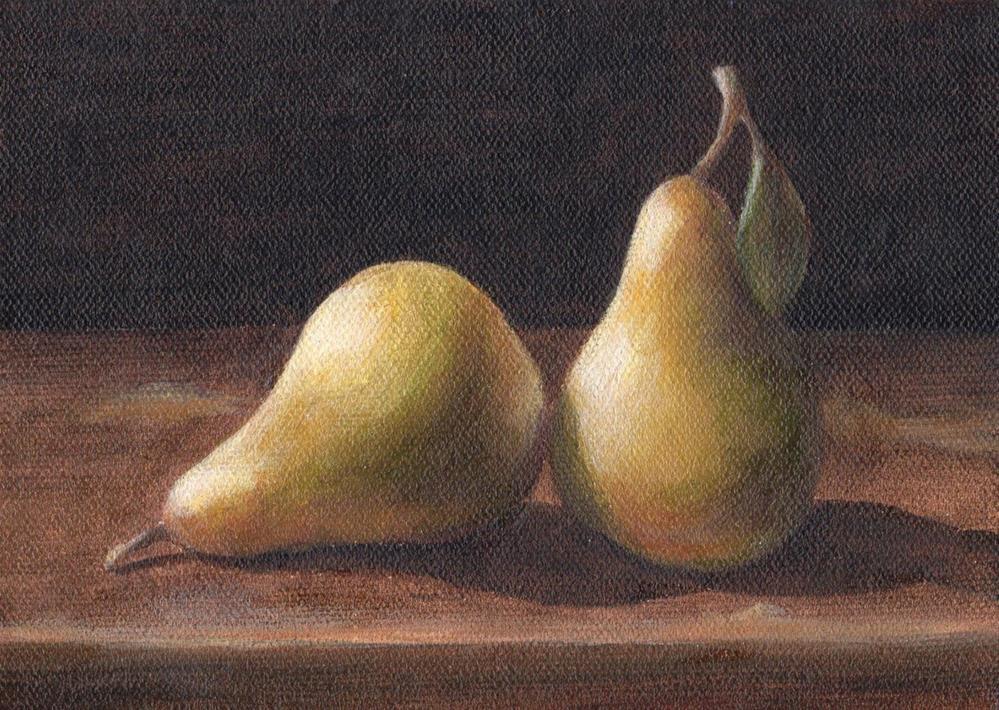 """Two Pears"" original fine art by Debbie Shirley"