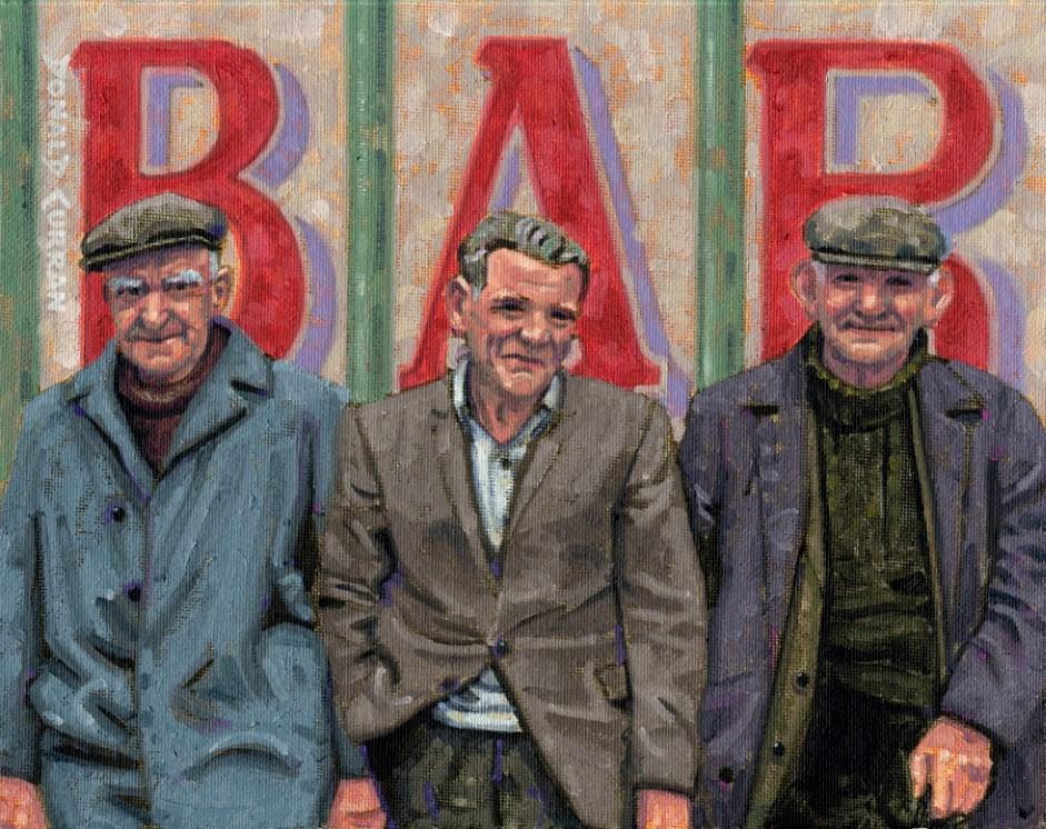 """Three Old Irish Guys"" original fine art by Donald Curran"
