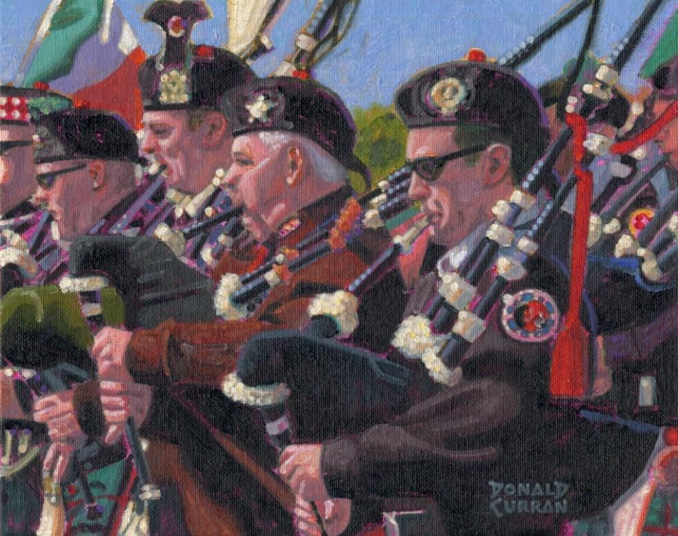"""Irish Pipers"" original fine art by Donald Curran"