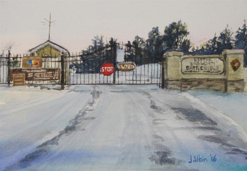 """Warm Welcome at Little Bighorn, Montana"" original fine art by Jane Albin"