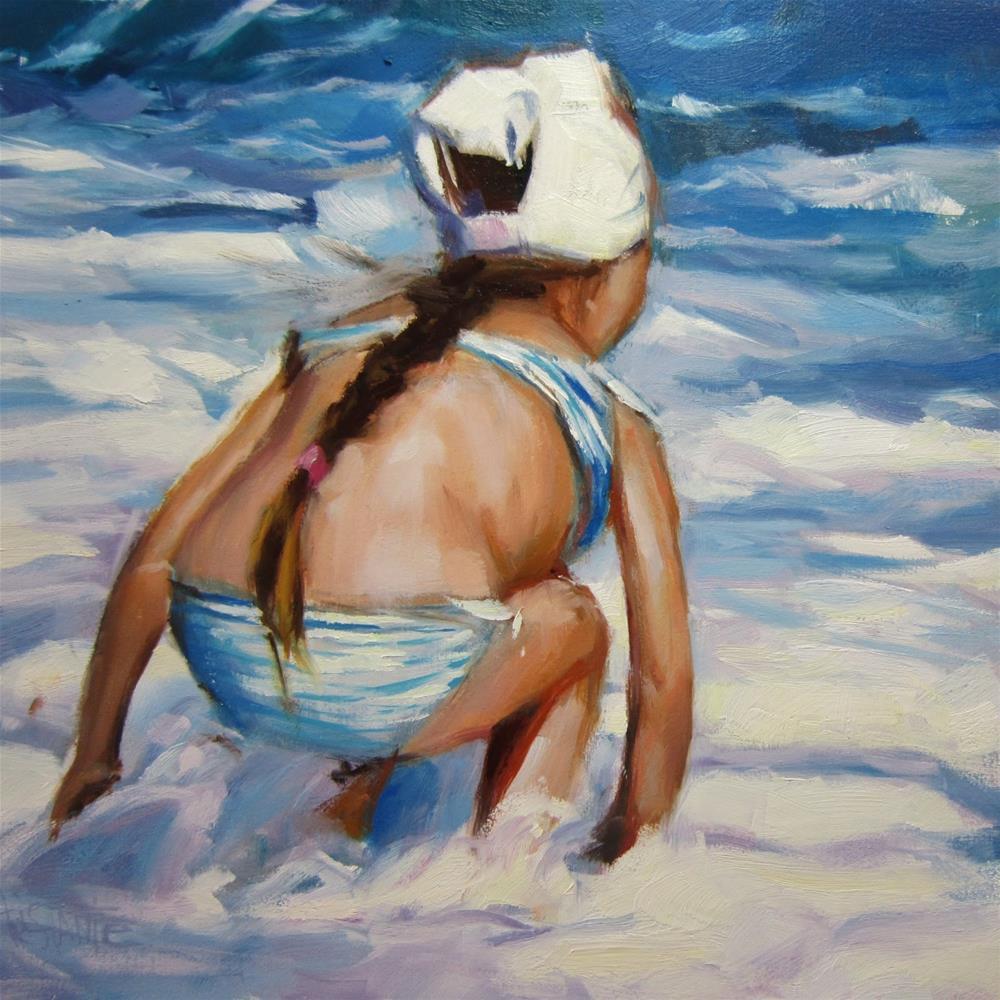 """Girl on the beach"" original fine art by Víctor Tristante"