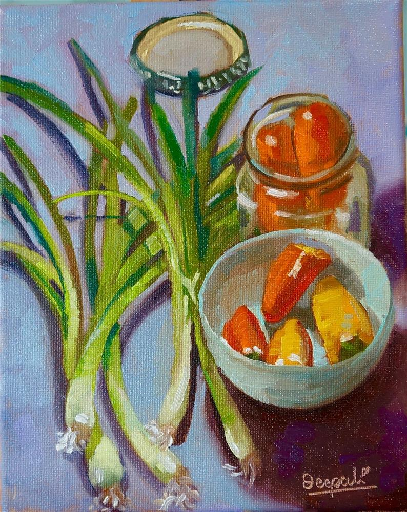 """Peppers and onion"" original fine art by Dipali Rabadiya"