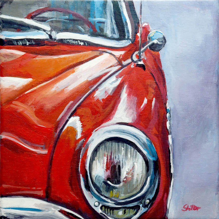 """2174 Fire-Red Playmobil -  Roadmaster Reloaded (Painting of the week #11)"" original fine art by Dietmar Stiller"
